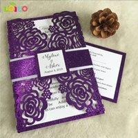 인사말 카드 사용자 지정 DIY 장미 결혼식 초대 카드 반짝이 종이, 일치 된 rsvp, 또는 브로치와 묶여 활