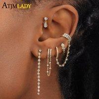 Hoop & Huggie 925 Sterling Silver Water Drop White Fire Opal Stone Paved Jewelry 5A CZ Sparking Fashion Women Girl Mini Small Earring
