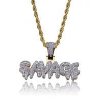 Hip hop savag diamond nome personalizzato combinazione bolla lettera collana collana micro cubico zirconia oro argento color rame collana pendente