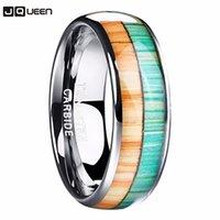 Di alta qualità Inlay Orange Green Colors Wood Grain Dome 8mm Larghezza Lucidatura Acciaio in acciaio in acciaio Tungsteno Anello 2021 Gioielli maschili alla moda