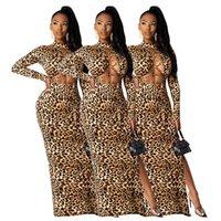 Women maxi casual dresses fall winter clothes sexy club elegant print leopard hollow out long cap sleeve split beachwear sheath column evening party wear 01725