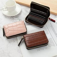 Card Holders Pu Leather Business Slim Zipper Case Holder Credit id bank Wallet Bag