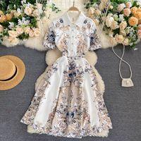Luxury European Designer Pista Vintage Impresión Largo Vestido de verano Mujer Manga corta elegante Vacaciones Boho Vestidos de playa Vestidos