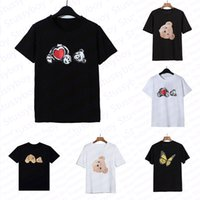 패션 곰 인쇄 여름 티셔츠 남자 여자 검은 흰색 티셔스 망 짧은 소매 폴로스 의류 크기 s-xl