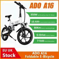 EU Stock! ADO A16 Foldable Electric Bicycle 16'' Tire 350W DC Motor 25km h Max Speed Men City BIke Mountain Ebike High Quality