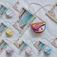 Fashion PU Plain Color Girls Mini Handbags Letter Print Designer Gradient Princess Saddle Shape Single Shoulder Messenger Bag Children Cross Body Bags Gifts