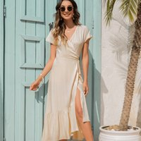 Women's summer long Fish Tail Dresses v-neck short puff sleeeve midi Side Split Skirt shein official traf store ankle length casual pleated dress vintage clothes