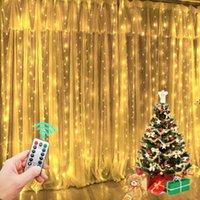 300 LEDストリングライトクリスマスデコレーションリモートコントロールUSBウェディングガーランドカーテン3MX3Mランプ休暇寝室電球HWF9367