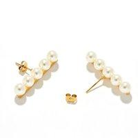 Новый ретро золотой баланс бар пресноводные жемчужные элегантности серьги для женщин девочки деликатные украшения