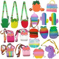 Tiktok Fidget Toys New Pop It Unicorn Squishy Kawaii Messenger Bag Stress Reliever Toys Sensory Toy Special Needs Adhd Autism Kids Gift