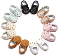 First Walkers Born Shoes PU Lether Breathable Infant Waterdrop Hollow Bow Lace Up Cutout Baby Casual Red Soft Sole