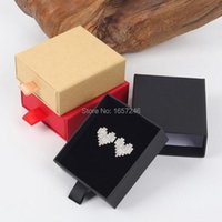Gift Wrap 7x8x3cm Kraft Paper Drawer Style Jewlery Boxes Red Black Brown Ring Earring Jewelry Display With Sponge Packaging 50PCS