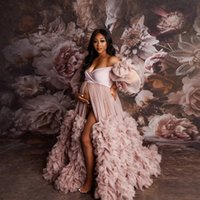 Off Shoulder Prom Dresses Dusty Pink Tulle Maternity Dress For Photoshoot See Thru Puffy Sleeves Open Front Long Robe Women Gowns