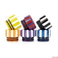 2 estilos Arco iris setas Stripe Epoxy Resina 810 510 Vape Drip Tip Amplio Boquilla de orificio para 510 810 Vape de hilo
