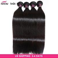 Peinado recto sedoso peruano brasileño 4 paquetes Ishow 8A Sin procesar Virgin Pure Hair Extension Human Hair Weave Bundles 8-28 pulgadas
