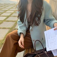 Women's Wool & Blends Autumn And Winter Female Temperament Fashion Girl Series Romantic Blue Korean Style All-Match Woolen Coat Women