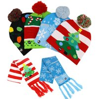 Hats, Scarves & Gloves Sets Merry Christmas Knitting Hats Scarf With LED Lights Cute Tree Snowflake Pattern Elastic Party Supplies