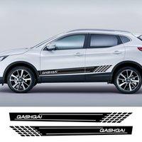 2pcs / lot Sport Car Porta Side Gonna Stips Sticker per Nissan Qashqai J11 J10 Auto Decorazione corpo Decorazione Decalcomania Accessori per auto Styling