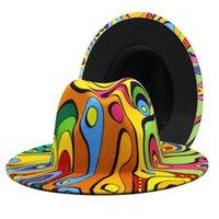 2021 الصوف الاصطناعي خمر كتابات رسمت فيدورا الشتاء الخريف الجاز قبعات طباعة التعادل صبغ نمط ملون واسعة بريم فيدورا قبعة