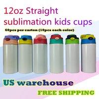 Us Warehouse 12oz Sublimation Cups Sippy Cups Canecas 6 cores Stainness Aço Baby Garrafa Beber Beber Parede Dupla Vácuo Alimentação Garrafas de Enfermagem