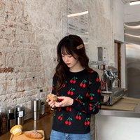 Женский свитер 2021 осень зима винтажные вишневые вязаные свитеры пуловер женские о-шеи тонкий kawaii перемычка вытащить трикотаж