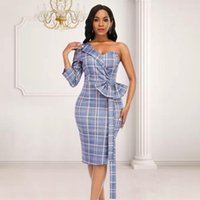 Casual Dresses Sexy One Shoulder Backless Bodycon Dress Irregular Sleeve With Bowtie Slim Pencil Plus Size Women Plaid 2021