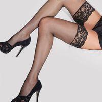 Socks & Hosiery 2021 Sexy Designer Lace Fish Net Thigh High Knee Long Women Transparent Elastic Stockings Kawaii Large Size
