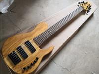 Бесплатная доставка Imperial 6 струн бас-гитара, древесина бас, Spalted Maple Peneer, 24 лада, черная кнопка
