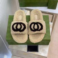 2021 New Double G 양모 슬리퍼 여성 플랫 바닥이있는 Muffin 두꺼운 바닥 슬롯 양모 여성의 신발 XWL 외부 게으른 슬리퍼를 착용하십시오