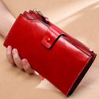RFID Blocking Genuine Leather Card Holders Women Wallet Long Lady Purse Brand Design Luxury Oil Wax Female Coin