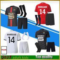 Взрослые Kids Kits + Носки 2122 Stade Rennais Soccer Jersey Home 2021 Rennes Maillot de Foot Sarr Niang Bourigeaud Andre Hunou Футбольные наборы
