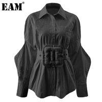 [EAM] Kadınlar Büyük Boy Kare Toka Kemer Bluz Yeni Yaka Uzun Kollu Gevşek Fit Gömlek Moda Gelgit İlkbahar Sonbahar 2021 1DD2147