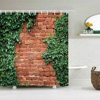 Shower Curtains Retro Old Brick Wall Plant Printing Fabric Waterproof Curtain Bathroom Bathtub Decor Bath Screen With 12 Hooks