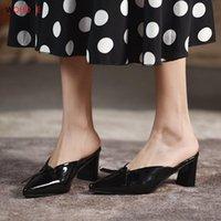 Chinelos Wohdhe Mulheres Mulas Mulas Bombas Chunky Heels Pontilhas Plataforma Toe Bowknot Senhoras Slides Partido Sexy Sandálias Altas 2021 7cm
