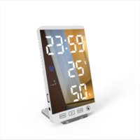 6 Inch LED Mirror Alarm Clock Touch Button Wall Digital Clock Time Temperature Humidity Display USB Output Port Table Clock dh