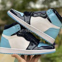 2021 MENS Womens UNC Patent Jumpman Basketballschuhe 1s Obsidian Blue Chill White 1 High Og Trainers Sport Sneakers Designer Chaussures