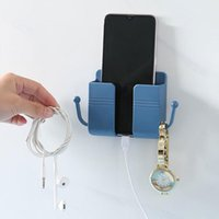 Hooks & Rails Wall Mounted Organizer Box Punch Free TV Remote Control Storage Phone Plug Holder Charging Multifunction