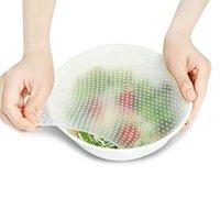 식품 보호기 저장 용기 10pc / 5pc / 3pc 재사용 가능한 실리콘 랩 씰 신선한 유지 뚜껑 커버 스트레치 진공 그릇 홈 주방 도구