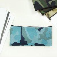 Camuflagem lápis sacos simples portátil lona saco cosmético escritório escritório papelaria estojo lápis de armazenamento 19 * 9.5cm zzc5177