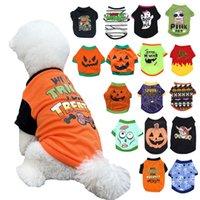 16 Color Halloween Perros Camisa Ropa Perro Puppy Mascotas CAMISETAS Fantasma Trajes de vestuario Linda ropa de cachorro de calabaza para pequeños gatos perritos Piedra Partido Partido Cosplay A87