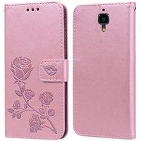 Корпус роскошной кожи Flip Chate для Xiaomi Mi 4 / Mi 4W 4C 4i розовый цветок для бумажника стенда карт держатель карты
