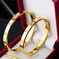 Pulseiras de aço de titânio pulseiras de prata rosa pulseira de ouro pulseira mulheres parafuso parafuso chave de fenda casal pulseira jóias com saco de poeira vermelha