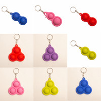 2021 Venta caliente Push Bubble Bubble Fidget Key Ring Simple Dimple Toys Key Holder 3 2 Bolas Squesy Balls Stress Reliever Key Chain Pendants LLA379