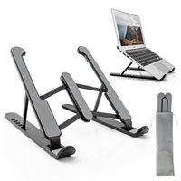 Supporto per laptop Pieghevole Stand Pieghevole Computer Scrittorio regolabile ABS ABS 6-Leve livello Altezza tavolo adatto per tutti i laptop e tablet Cooling ausiliario nero
