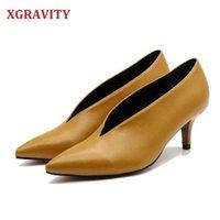 Xgravity Pop Star pointu oie fille talon mince femme chaussures Deep V Design Lady Mode Élégante Femmes européennes C264 210610