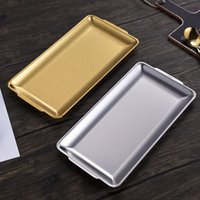 Stainless steel Korean square plate thickened frosted barbecue plates gold rectangular restaurant hotel