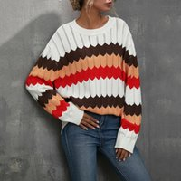 Women's Sweaters 2021 Wavy Pattern Matching Color Stripe Fashion Atmosphere Round Neck Simple Short Casual Contrast Knit Sweater
