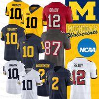NCAA ميشيغان ولفيرينز جيرسي ديزموند هاوارد 10 توم برادي 2 تشارلز وودسون شيا باترسون كلية كرة القدم جيرسي