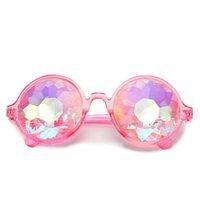 Caleidoscopio Adulto Gafas de sol Moda 1pair Redondo Mujeres Festival Rave Gafas de sol Hombres Vidrios Holográficos Gafas Coloridas Fiesta Gafas
