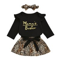 kids Clothing Sets girls outfits Infant Letter ruffle Flying sleeve Romper Tops+Leopard print skirts+Headband 3pcs set summer fashion Boutique baby Clothes Z3834